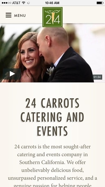 Catering Website Examples: 24 carrots