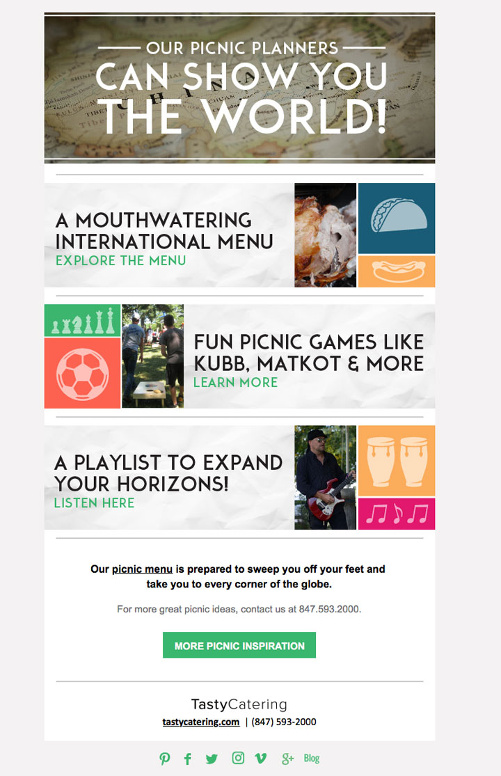 Around The World Picnic Theme Email Blast