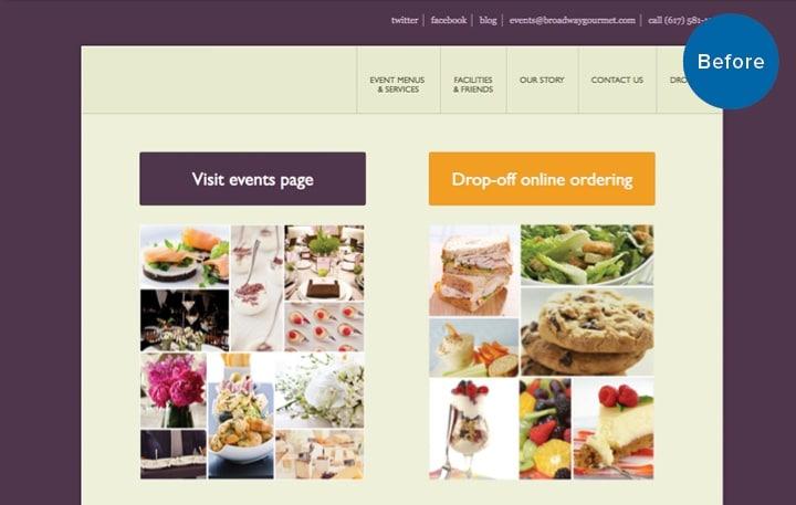 BG Catering Website Before