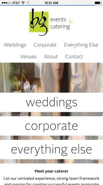 Catering Website Examples: BG events