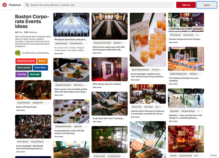 BG Events and Catering Corporate Pinterest