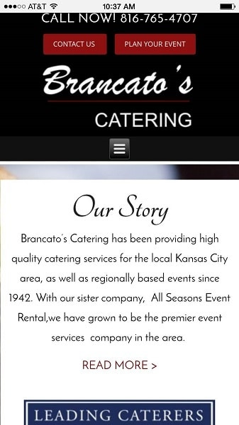 Catering Website Examples: Brancatos