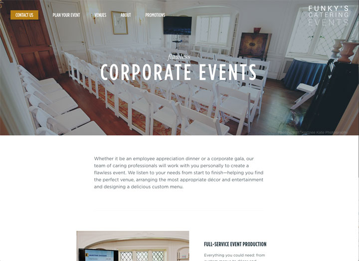Funky's Catering Dedicated Corporate Page