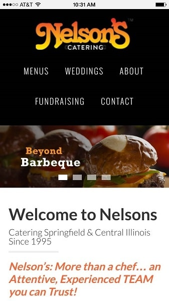 Catering Website Examples: Nelson's