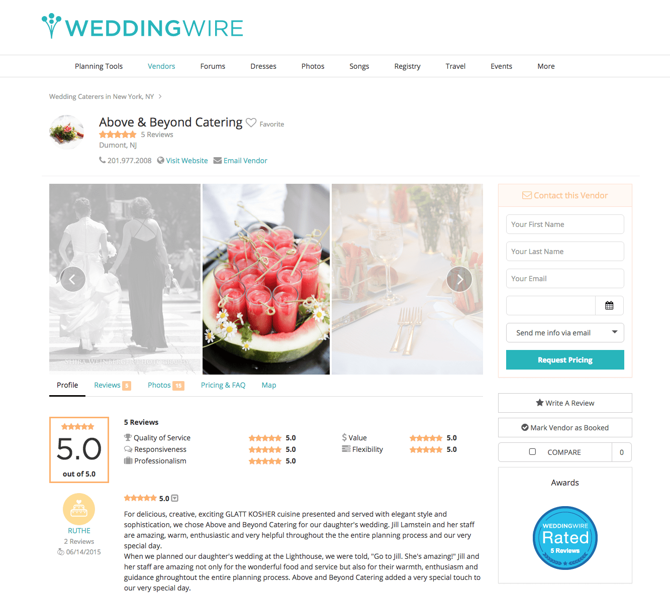 Featured Ad Wedding Wire Catering Vendor Page