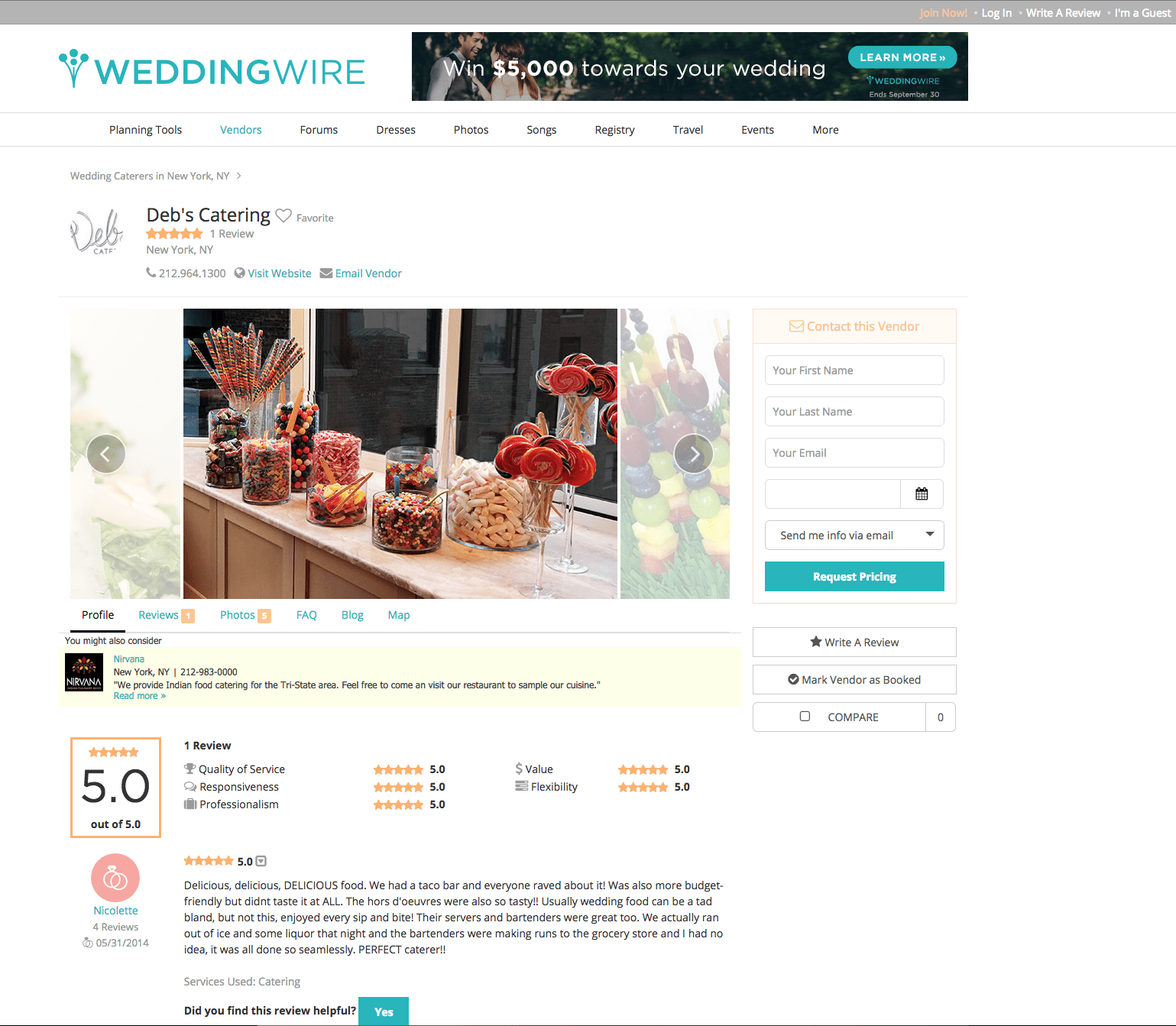Standard Wedding Wire Catering Profile Page