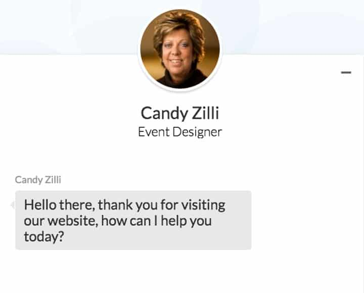 Zilli Hospitality Group Live Chat Example