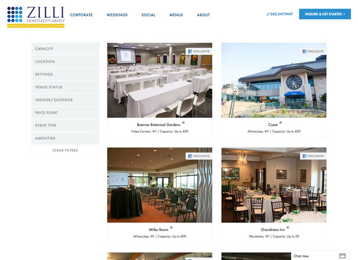 Zilli Hospitality Group Venue Finder