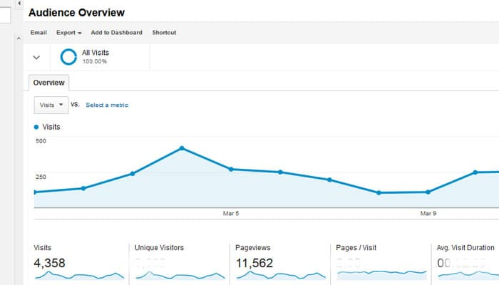 Analaytics stats visits.