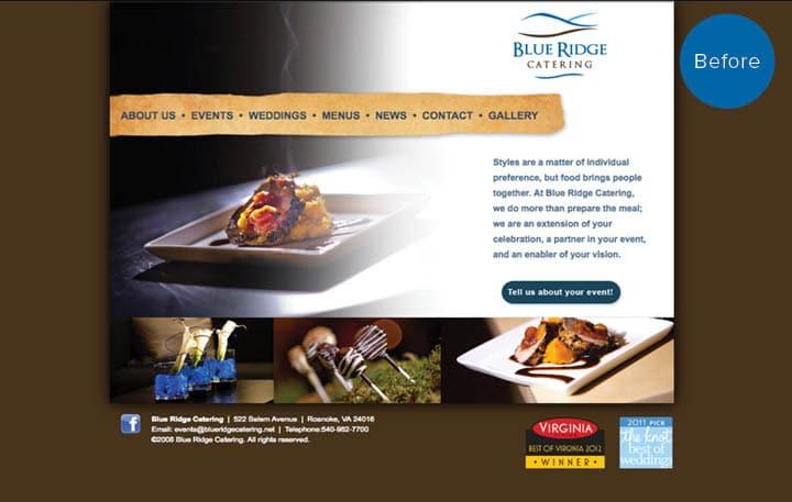 Blue Ridge Website Before