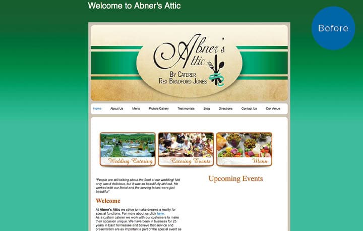 Bradford Catered Events Website Before