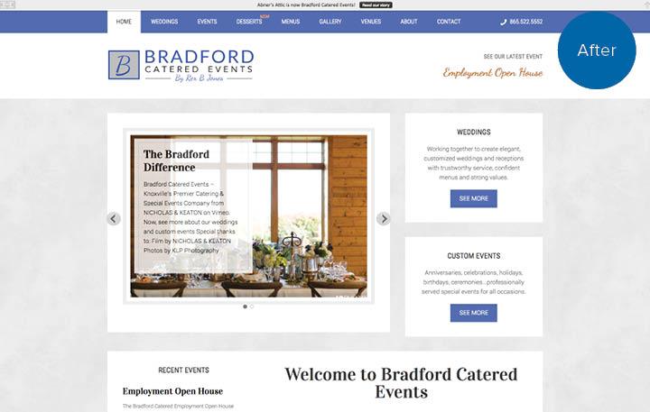 Bradford Catered Events Website After