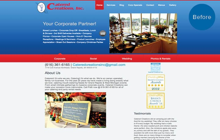 Catered Creations Website Before