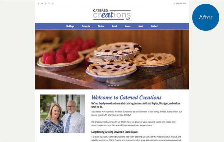 Catered Creations Website After