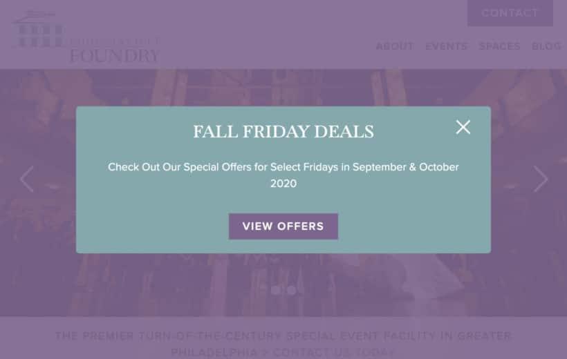Website popup special offers