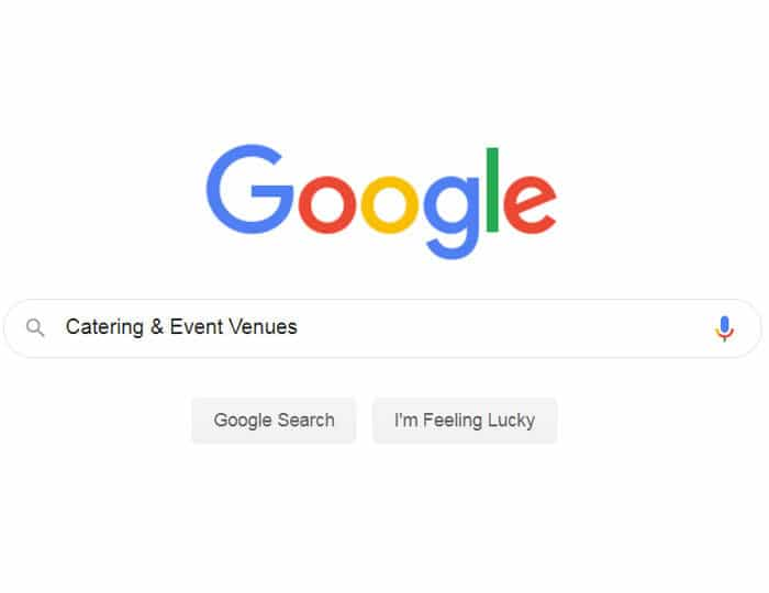 Google search for catering and event venues