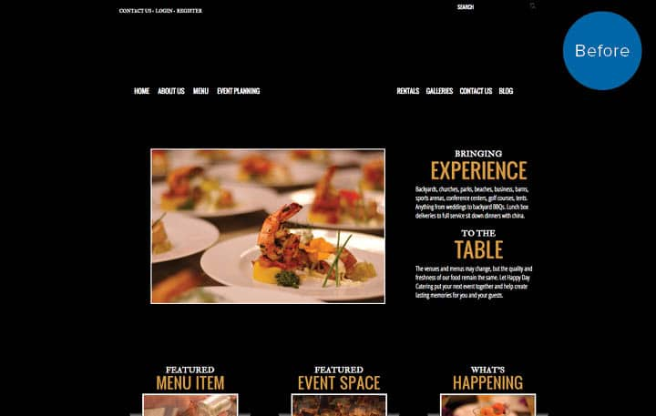 Happy Day Catering Website Before