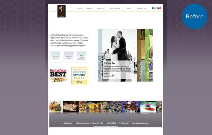 J. Scott Catering Website Before
