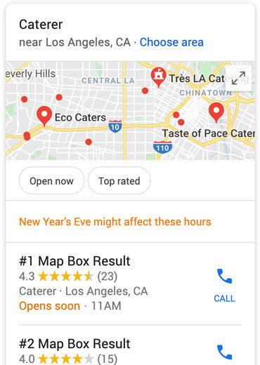 Map box local search results