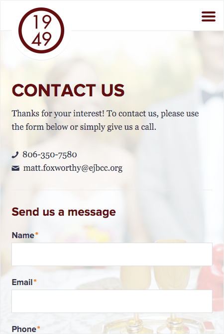 A mobile optimized contact form.