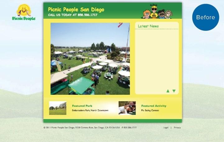 Picnic People Website Before