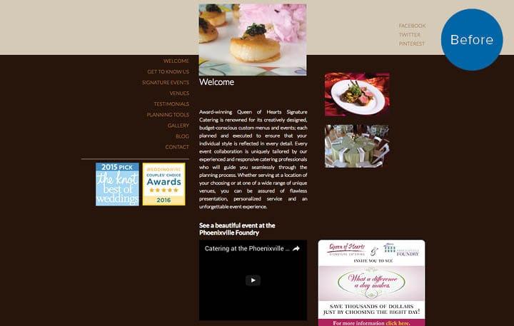 Queen of Hearts Catering Website Before