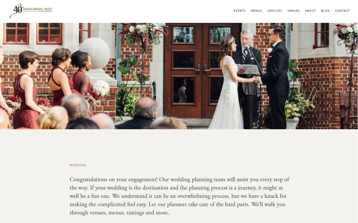 Sensational Host Events & Catering's website - wedding page