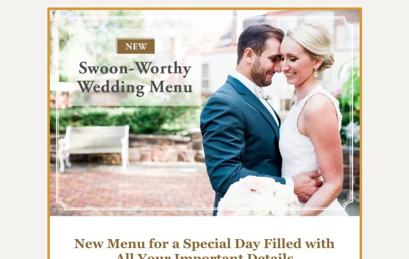 New wedding menu email promotion