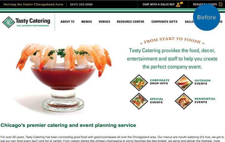 Tasty Catering Website Before
