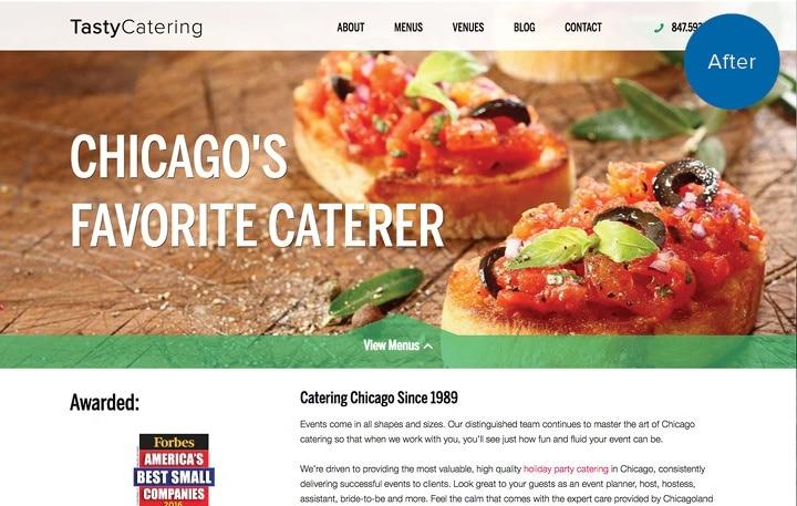 Tasty Catering Website After