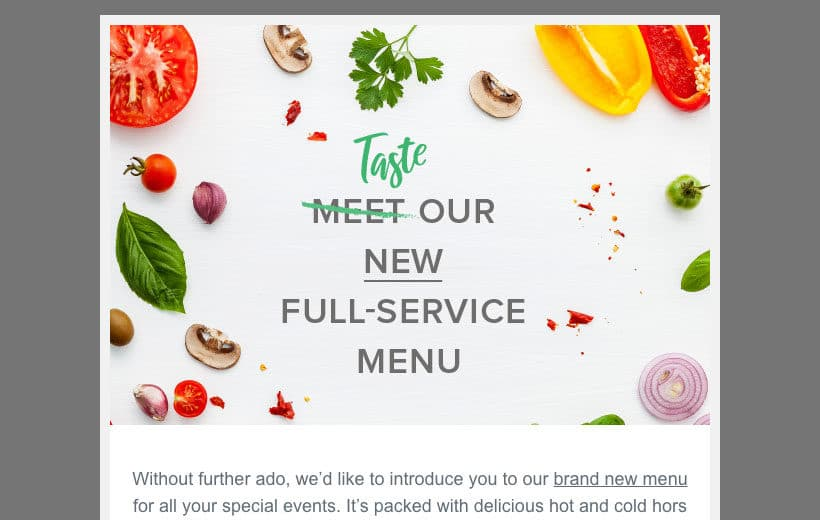 Email design example promoting a new menu