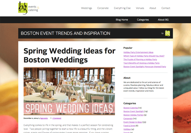 A wedding blog post to generate leads.