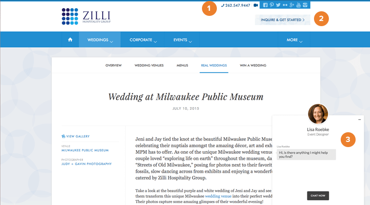A website with multiple CTAs to increase wedding leads.