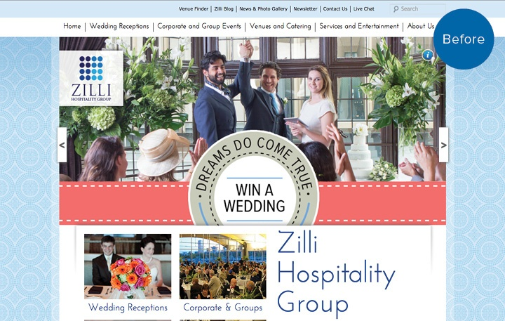 Zilli Hospitality Group Website Before