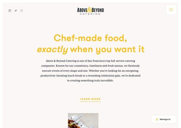 Above & Beyond Catering website screenshot