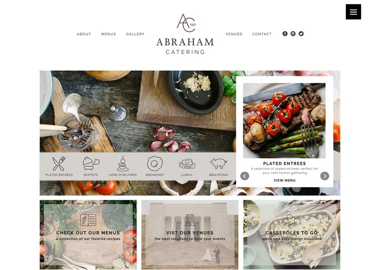 Abraham Catering website screenshot