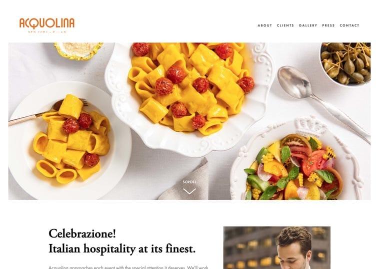 Acquolina Catering website screenshot