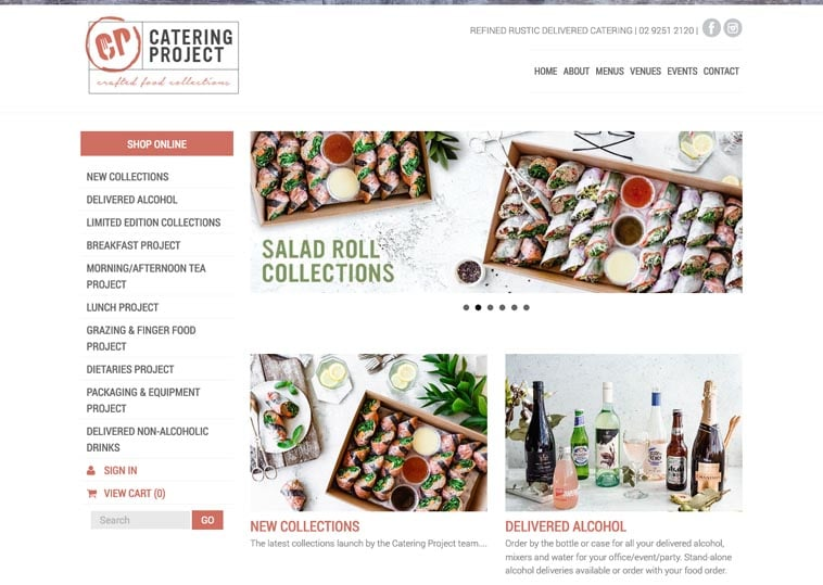 Catering Project website screenshot