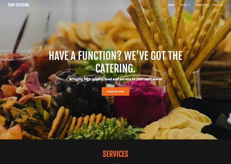 Cove Catering website screenshot