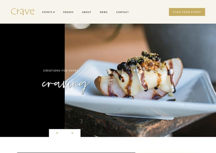 Crave Catering website screenshot