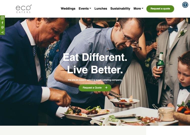 Eco Caters website screenshot