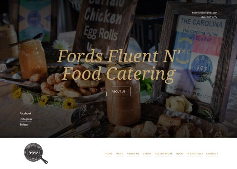 Fluent 'n Food Catering home page screenshot
