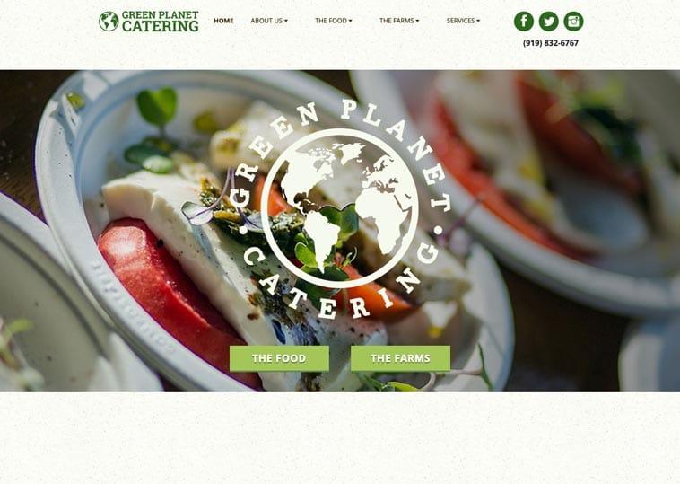 Green Planet Catering website screenshot