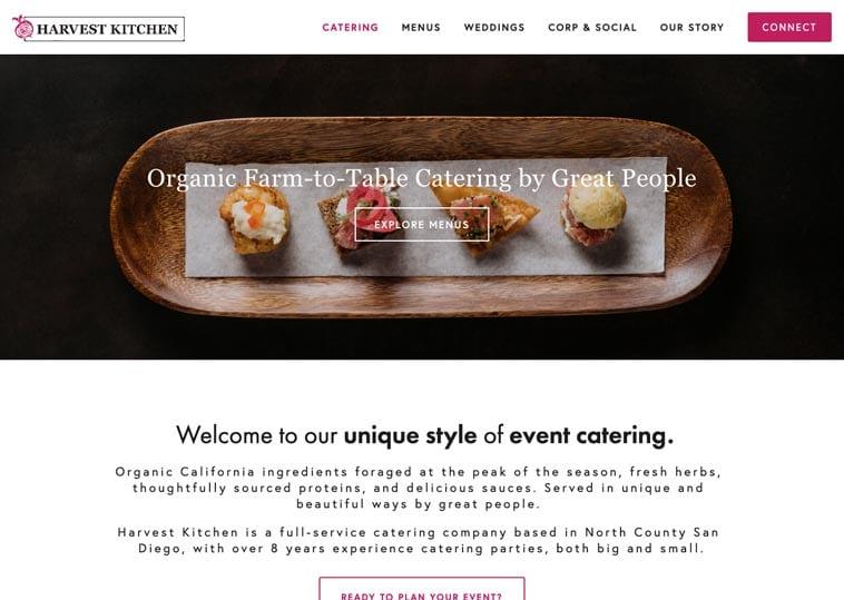 Harvest Kitchen website design
