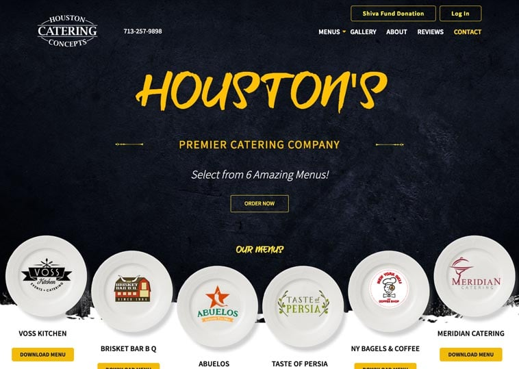 Houston Catering Concepts home page screenshot