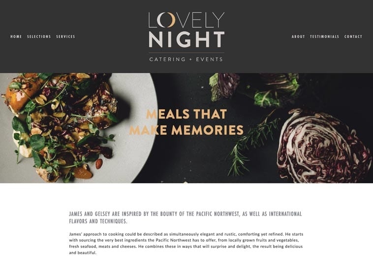 Lovely Night Catering and Events website screenshot