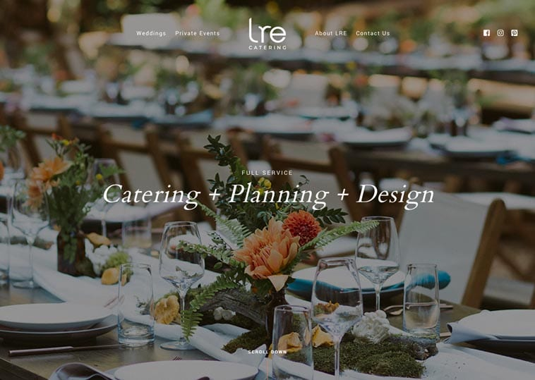 LRE Catering website home page
