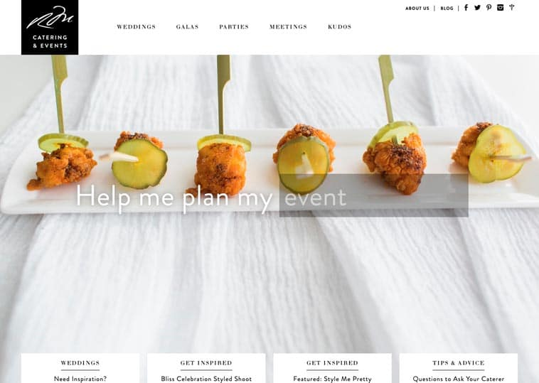 Russell Morin Catering & Events website screenshot