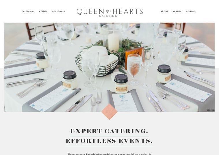 Queen of Hearts Catering website screenshot