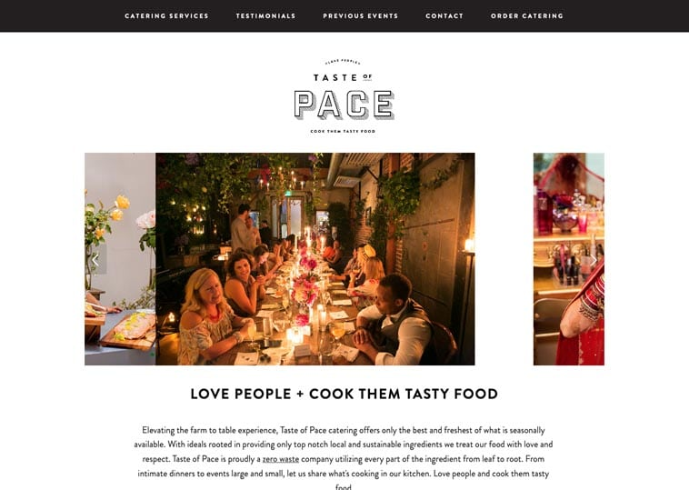Taste of Pace home page design
